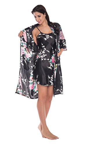 Yukata Womens Gorgeous Loungewear 2PC Set Sleepwear Camisole & Robe