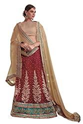Ishin Net Chiffon Party Wear Embellished Red & Beige Lehenga