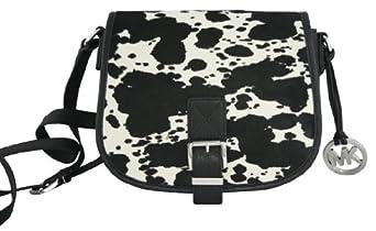 Michael Kors Calf Hair Medium Messenger Saddle Bag Black