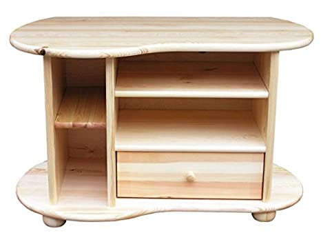 Meuble TV en bois du pin massif nature «Junco» 201 - Dimensions: 60 x 96 x 48 cm