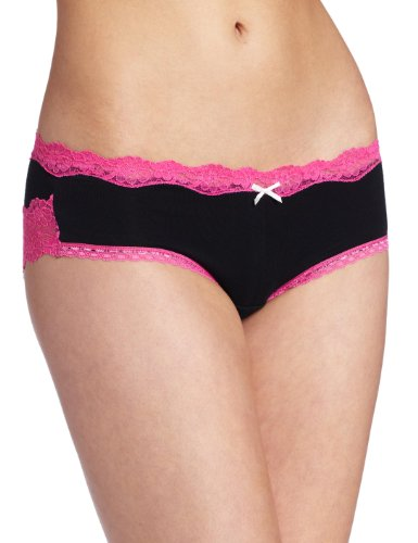 Maidenform Women's Fun Microfiber Hipster Panty, Black With Hot Pink, 5