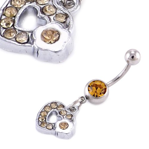 Amber Heart Crystal Gem Dangle belly bar 14G = 1.6 X 12mm Length