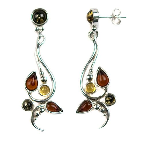 Sterling Silver Multi-Color Amber Modern Earrings