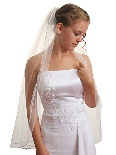 SparklyCrystal 1T 1 Tier Pencil Edge Bridal Wedding Veil - Ivory Fingertip Length 36