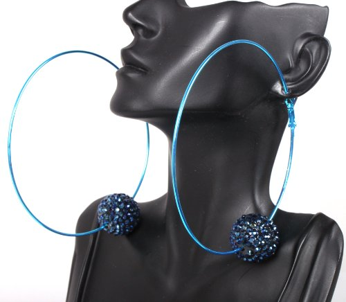 Basketball Wives Earrings Blue 3.85 Inch Hoops with an Iced Out Disco Ball Paparazzi Shamballah Mob Wives