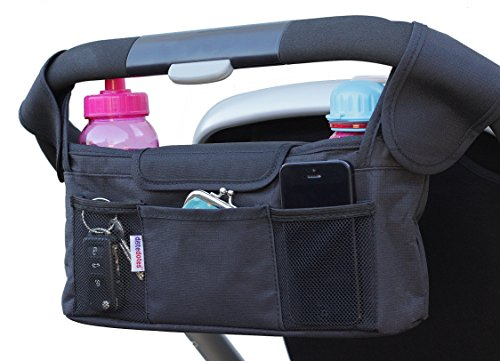 Deluxe Stroller Organizer by DoteDotes ★ Universal Black Diaper Bag & Thermo-Insulated Cup Holders - Fits Most Strollers ★ Great Baby Shower Gift ★ 100% Satisfaction and Lifetime Money-Back Guarantee! - 1