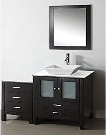 """California USA Modern Espresso 36"""" Tempered Glass Top Ceramic Sink Solid Wood With Side Cabinet Vanity Set - X054"""