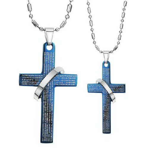 Opk Jewellery Fashion Stainless Steel Necklace Blue English Bible Pendants Within Rings For Men And Women