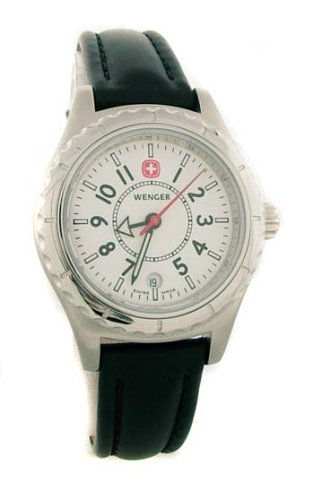 Women's Sportedge Black Leather White Dial