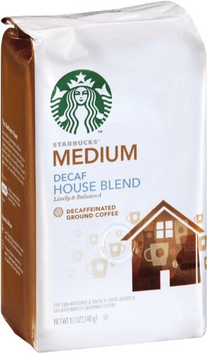 Starbucks Decaf House Blend Coffee (Medium), Ground, 12-Ounce Bags (Pack of 3)