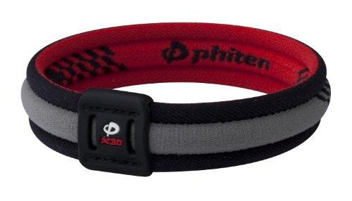 Phiten Titanium Bracelet X30 Edge, Red / Black, 6.75 Inch