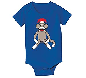 Sock Monkey Moustache - Baby One Piece - ROYAL BLUE - 6 Months