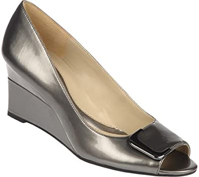 Naturalizer Women's Riddle Dress Shoes,Pewter Pearlized Patent Polyurethane,4 M US