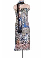 Kalki Fashions Imperial Blue Unstitched Suit Adorn In Digital Print