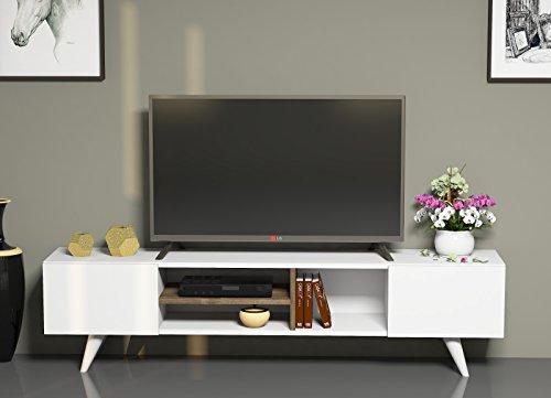 TV-Board-Lowboard-DORE-in-Wei-Nussbaum-Fernsehtisch-mit-2-Tren-in-modernem-Design