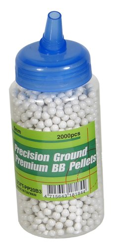 UHC Precision Ground Premium 6mm plastic airsoft BBs, 0.20g, 2000 rds, white