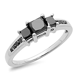 1.25 Carat (ctw) Sterling Silver Princess & Round Black Diamond Bridal 3 Stone Ring 1 1/4 CT (Size 8)