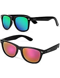 Elegante Combo Of UV Protected Purple & Green Mirrored Wayfarer Sunglasses For Men And Women (Model : Elt-7119...
