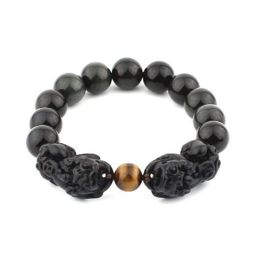O-stone Natural Obsidian Bracelet  a Pair of