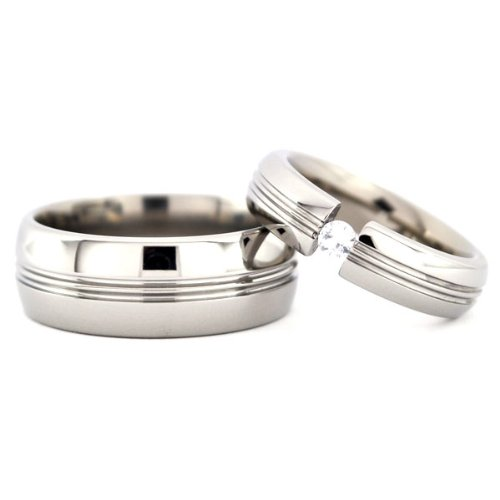 New Matching Titanium Wedding Ring Set, Pick Your Gemstone