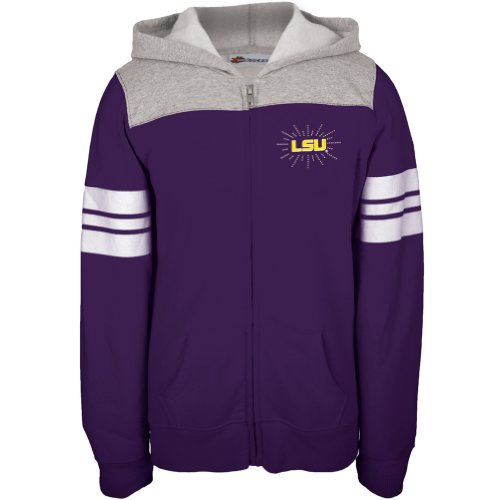 LSU Tigers - Rhinestone Rays Logo Girls Juvy Zip Hoodie - Juvy 6 Purple at Amazon.com