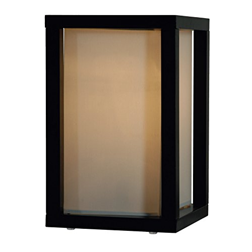 Rectangular Wooden Table Lamp with Beige Linen Shade (Black)