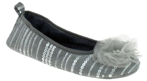 Cheap Capelli New York Faux Suede & Sequin Ballet With Gem Flower Ladies Indoor Slipper Grey X-large (B00937O6RY)