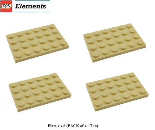 Lego Parts: Plate 4 x 6 (PACK of 4 - Tan) - 1