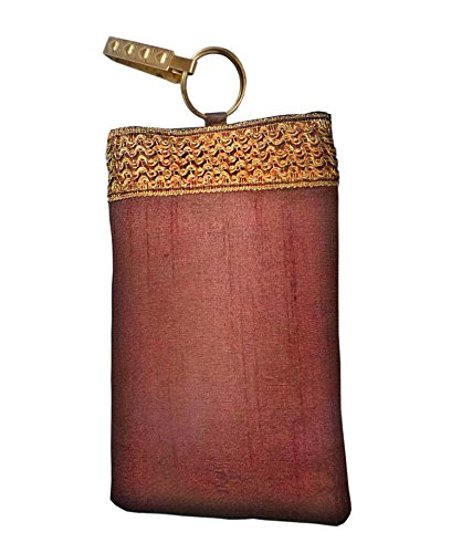 Bhamini Raw Silk Mobile Cover (Brown)