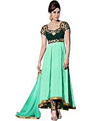Latest Designer Green Georgette Suit By Kmozi