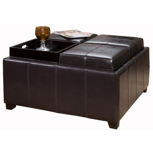 Leather Coffee Table With Tray: Leather Sofa: BEST Dartmouth Leather Tray Ottoman, Black