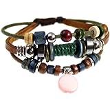 Circle Drop Beaded Multi Strand Leather Zen Bracelet
