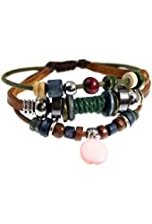Circle Drop Zen Wrap Bracelet Beaded Adjustable Multi Strand Leather Cuff in Gift Box