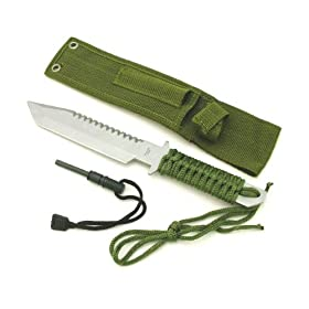 "11"" Full Tang Fire Starter Hunting Camping Knife W/flint"