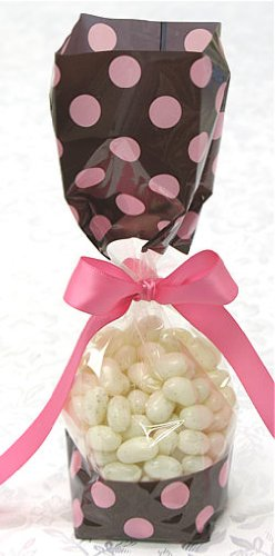 Brown With Pink Polka Dots Tall Cellophane Goodie Bag (2In. W X 9 1/2In. H X 1 7/8In. Deep) - Pack Of 10 front-206379