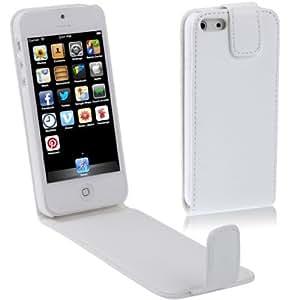 Gilsey Leder Flip Case PU für iPhone 5 5S Tasche - Weiss