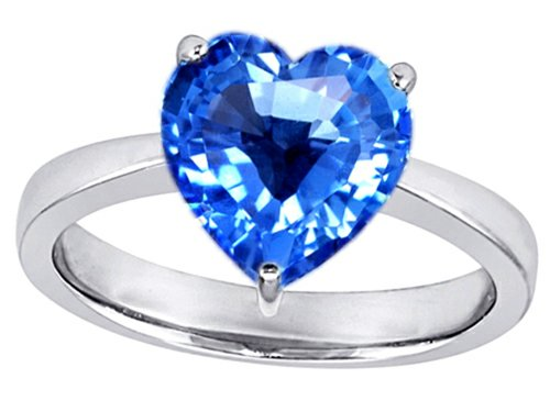 Star K 10Mm Heart-Shape Solitaire Engagement Ring Simulated Blue-Topaz Size 6