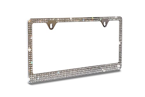 Super Bling 4 Rows White/Clear Real Crystal Rhinestone Embedded Metal Chrome License Plate Frame+Free Caps (License Plate Frames Rhinestones compare prices)