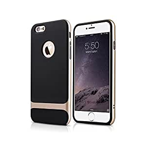 """Premium quality Black Rubberized back case cover with Golden Bumper for Apple Iphone 6 Plus 5.5"""""""