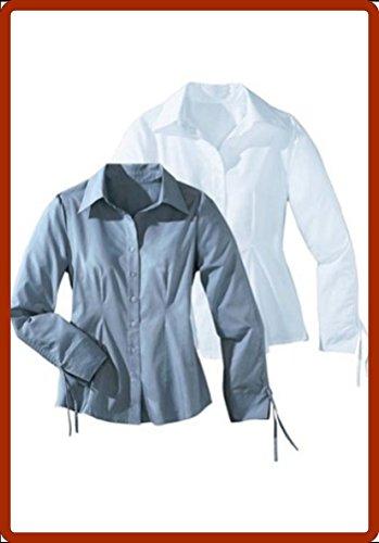 2 Stück Bluse von Cheer Hemdbluse Gr. 50 Farbe weiß und hellblau