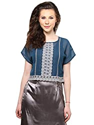 XnY Teal Blue Lace Insert Crop Top