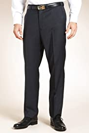 Pure Wool Flat Front Check Trousers [T15-1944-S]