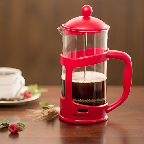 Ovente FPT34R 34oz French Press Coffee Maker, Red