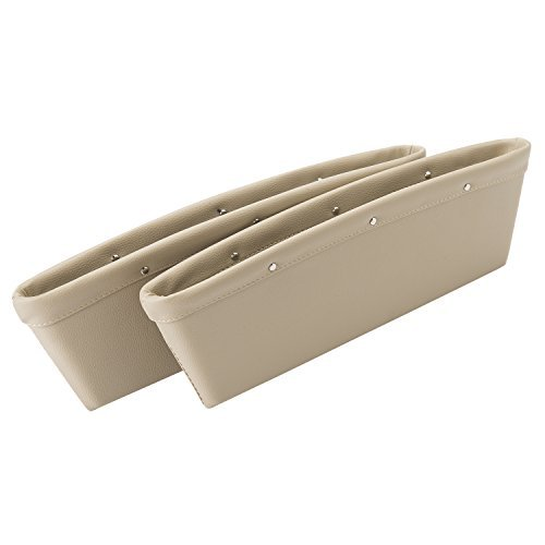 autvivid Catcher Organizer between Car Seat ,Car Seat Side Slit Pocket Catcher Organizer Fills Gaps between the Seats with Removable 2PCS Beige