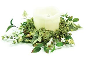 Pack of 6 Hydrangea Pillar Candle Ring Table Top Holiday Decorations 6.5""
