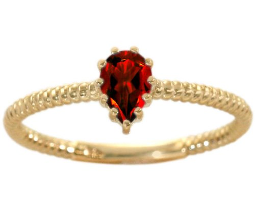 14K Yellow Gold Pear Gemstone Solitaire Stackable Ring-Garnet, size5