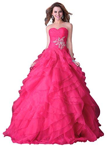 Grace Karin® Women's Fuchsia Organza Strapless Long Prom Evening Dresses (16