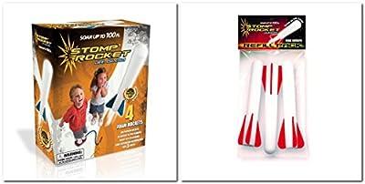 Stomp Rocket Junior Glow Kit with Extra Jr. Glow Rocket Refills (WhiteBlueRed) by Stomp Rocket