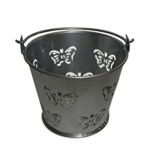 Butterfly Design Silver Metal Favour Buckets (PACK OF 10) (XMEFABU15)