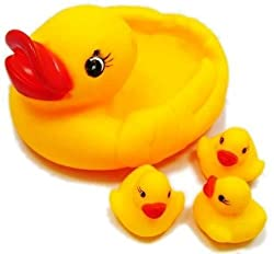 "ElectroBeeâ""¢ Duck Family Baby Bathing Toys Set Of 4 Yellow Rubber Squeaky Squeeze Lovely Ducklings"